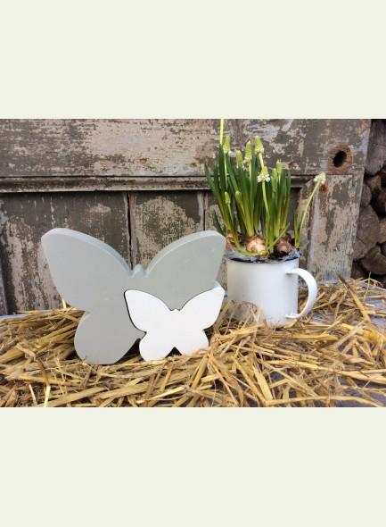 Vlinder Elyse grijs wit