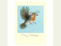 Kerstkaart Merry Christmas Robin
